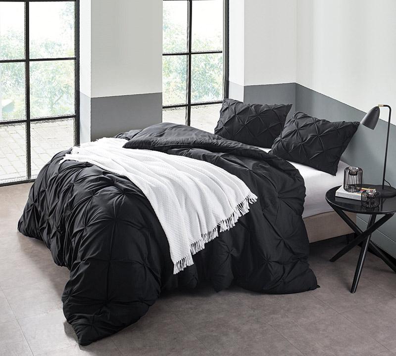Charmant Black Pin Tuck Full Comforter   Oversized Full XL Bedding
