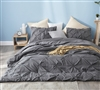 Stylish Gray Full Bedding Elegant Granite Gray Pin Tuck Design Oversized Full XL Comforter