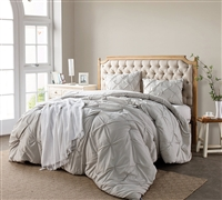 Silver Birch Pin Tuck Full XL Comforter - Softest XL Full Bedding Sets