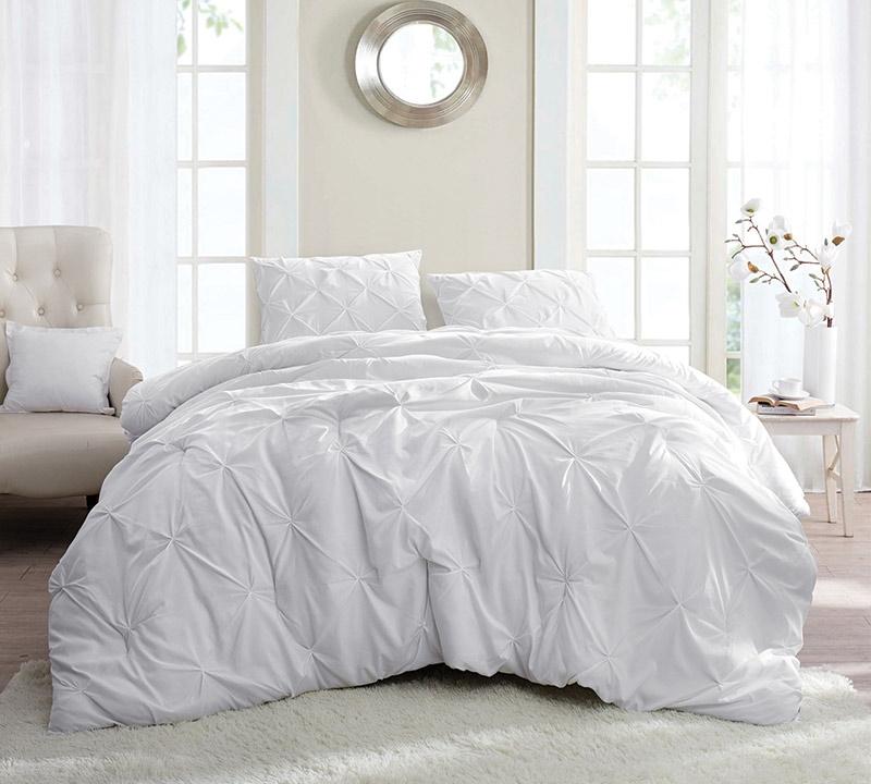 White Pin Tuck Full Comforter Oversized Xl Bedding