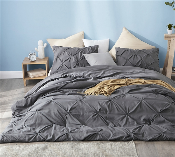 Softest Microfiber Twin XL, Full XL, Queen XL, or King XL Comforter with Luxurious Gray Pin Tuck Design
