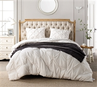 Elegant Easy to Match Off-White Oversized Twin XL, Queen XL, or King XL Comforter with Cozy Microfiber