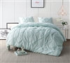 Hint of Mint Pin Tuck Oversized King Comforter Sets - Comfortable Bed Comforter in King XL Size - Mint Green Bed Comforter King XL