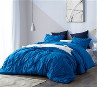 Stylish Blue King Extra Large Bedding Set with Pin Tuck Oversized Bedspread and Pin Tuck King Pillow Shams