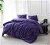 Comfortable XL King Bed Comforter – Purple Regin Pin Tuck