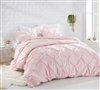 Stylish King XL Bedding Beautiful Rose Quartz King Oversize Comforter Elegant Pin Tuck Design