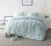 Hint of Mint Pin Tuck Comforter  - Oversized Bedding