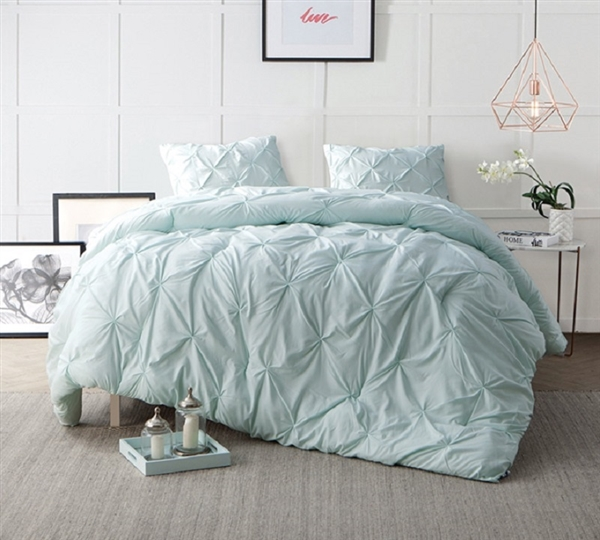 High Quality Twin XL, Queen, and King Comforter Stylish Pin Tuck Hint of Mint Green Bedding