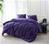 Oversized Twin XL, Queen XL, or King XL Comforter in Stylish Bright Purple with Pin Tuck Design