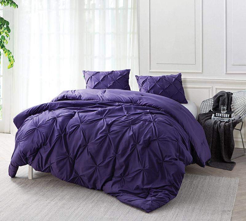 Purple Reign Pin Tuck Queen Comforter   Oversized Queen XL Bedding