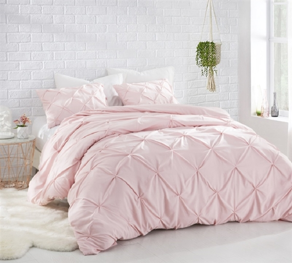 Ultra Soft Twin XL, Full, Queen, and King Bedding Beautiful Pink Rose Quartz Comforter with Textured Pin Tuck Design