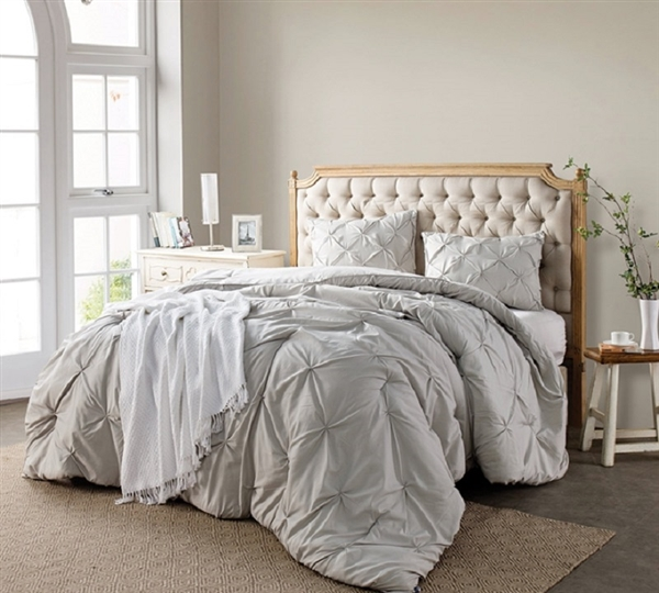 One of a Kind Silver Birch Twin XL, Full XL, Queen XL, and King XL Oversize Comforter with Elegant Pin Tuck Design