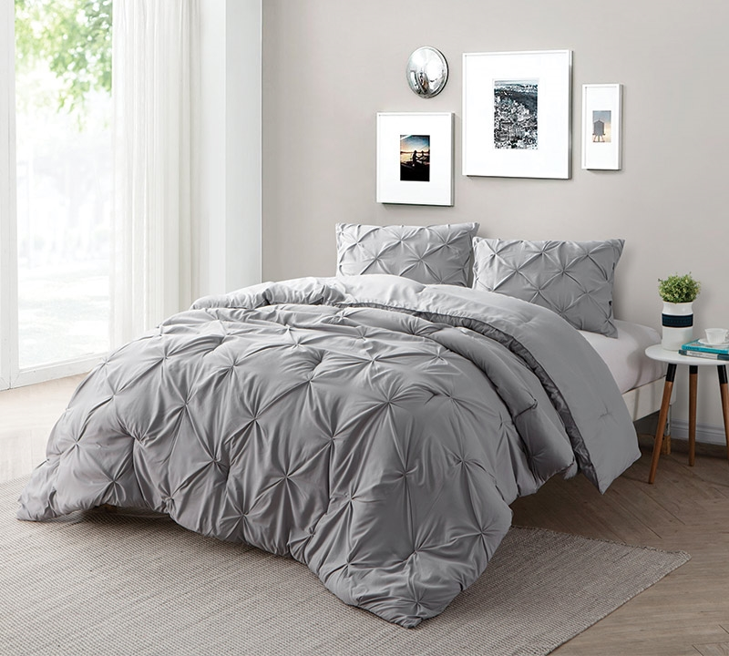 Alloy Pin Tuck Twin Comforter   Oversized Twin XL Bedding