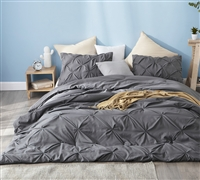 Pretty Pin Tuck Twin Extra Large Comforter Set Dark Granite Gray XL Twin Bedding Essentials