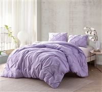 Cheap Bedspreads - Orchid Petal Pin Tuck Twin XL Comforter - Oversized Twin XL Bedding