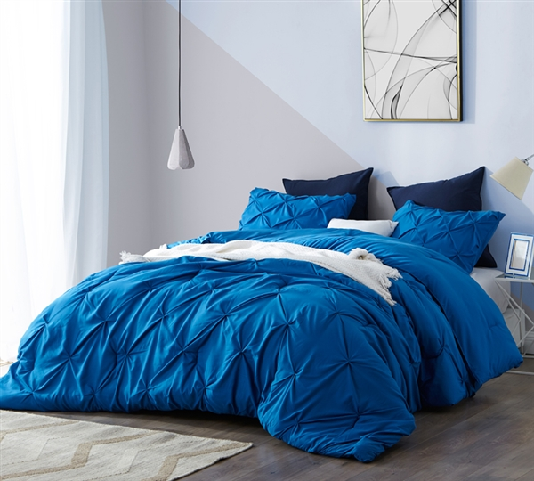 Oversized Twin Bedding Set with Extra Large Twin Comforter and Standard Shams with Textured Pin Tuck Design