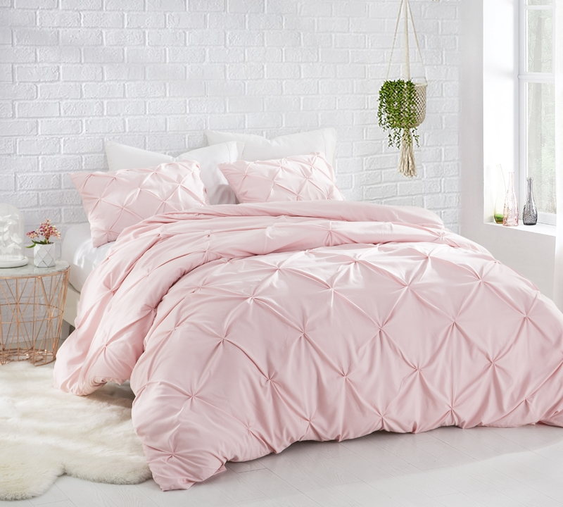Pink Rose Quartz Oversized Twin Xl Comforter Stylish Pin Tuck