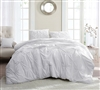 Beautiful Twin XL, Full XL, Queen XL, and King XL Oversize Bedding Decor Pretty White XL Comforter with Pin Tuck Design