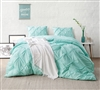 Stylish Teal Oversized Twin XL, Full XL, Queen XL, or King XL Comforter with Unique Pin Tuck Design