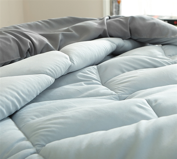 Light Gray and Medium Gray Reversible Full Oversized Comforter Made with Machine Washable Bedding Materials