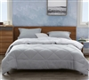 Super Soft Microfiber Extra Large Full Comforter with Reversible Stylish White and Gray Full Bedding Options
