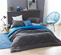 Extra Large Unique Reversible Bright Blue or Neutral Gray Full XL Comforter with Coziest Microfiber