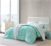 Hint of Mint and Yucca XL Full Size Comforter Sets - Extra Long Full Soft Bedding