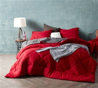 Extra Large Reversible Cherry Red or Granite Gray Full XL Comforter with Cozy Microfiber Material
