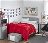 Extra Large Bright Red or Gray Beige Reversible Full XL Bedding with Machine Washable Material and Cozy Microfiber