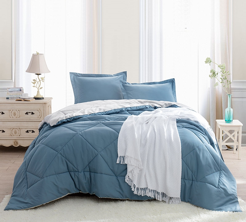 Smoke Blue Silver Birch King Comforter Oversized Xl Bedding
