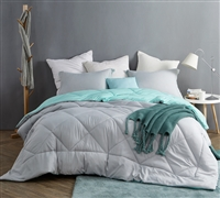 Affordable Queen XL Reversible Bedding Light Gray and Bluish Green Queen Oversized Bedspread with Matching Shams