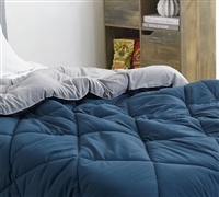 Nightfall Navy/Alloy Queen Comforter - Oversized Queen XL Bedding