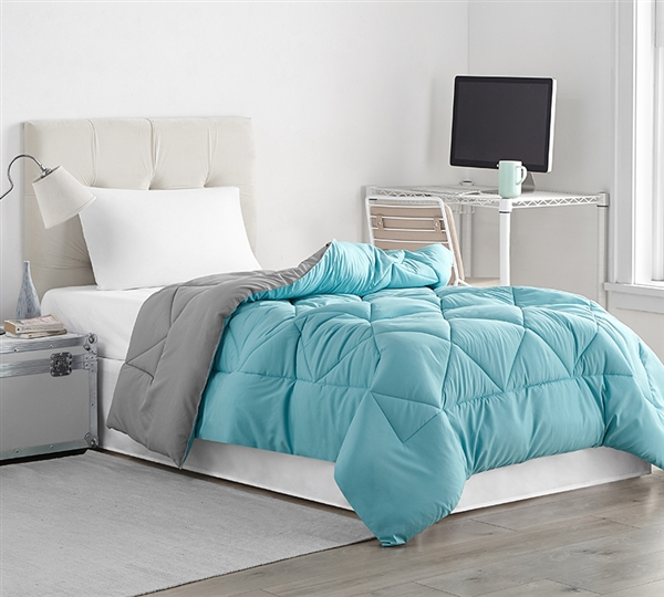 Machine Washable Twin XL Comforter Affordable Reversible Twin Extra Large Bedding Aqua Blue and Alloy Gray