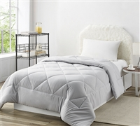 Solid Glacier Gray Twin Comforter  - Oversized Twin XL Bedding