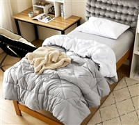 Extra Soft Microfiber Oversized Twin XL Comforter in Easy to Match Reversible Gray and White Colors