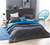 Extra Long and Extra Wide Twin Comforter Blue and Gray Reversible Twin Oversized Bedspread