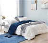 Reversible Twin XL Comforter with Off-White and Navy Blue Color Options and Comfiest Microfiber Material