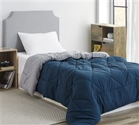 Nightfall Navy/Alloy Twin Comforter - Oversized Twin XL Bedding