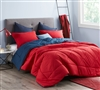 Reversible Bright Cherry Red or Neutral Navy Blue Extra Large Twin Comforter with Thick Inner Fill and Soft Microfiber
