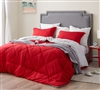 Twin Reversible Oversized Bedspread Stylish Cherry Red and Neutral Beige Gray XL Twin Bedding
