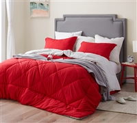 Cherry Red/Silver Birch Twin Comforter - Oversized Twin XL Bedding
