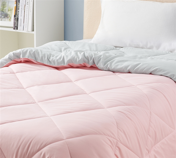Stylish Gray and Pink Extra Large Comforter Reversible Bedding Made with Cozy Microfiber
