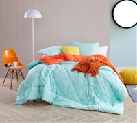 Bold Teal Blue or Bright Orange Reversible Twin XL Comforter in Oversized Twin XL and Soft Microfiber Material