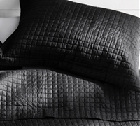 Standard Size Pillow Sham Ultra Cozy Microfiber Pre-Washed Black Twin, Full, or Queen Bedding Essential