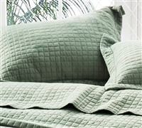 Subtle Textured King Pillow Sham Moss Green 100% Machine Washable Microfiber King Bedding Essential