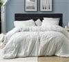 Extra Long and Extra Wide King Comforter Set Grayish Off White King Bedding with Textured Chevron Pattern