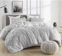 Gray Oversized King XL Comforter One of a Kind Textured Waves Super Soft Glacier Gray with Handstitch Chevron Design