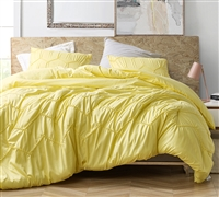 Plush Extra Large King Comforter Set in Vibrant Yellow with Stylish Textured Wave Design