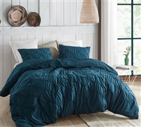 Extra Large King Comforter in Navy Blue Shade with Textured Wave Details and Cozy Microfiber Material