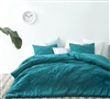 Unique Textured Waves Oversized Queen XL Comforter Ocean Depths Teal Microfiber Super Soft Queen Bedding